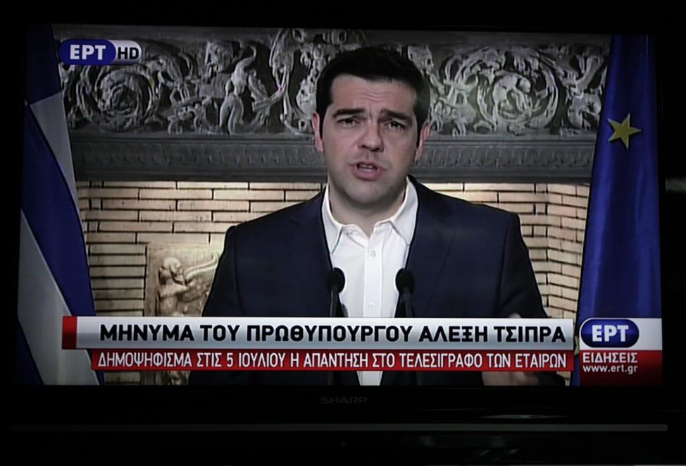 Greek Prime Minister Alexis Tsipras announces a referendum on bai