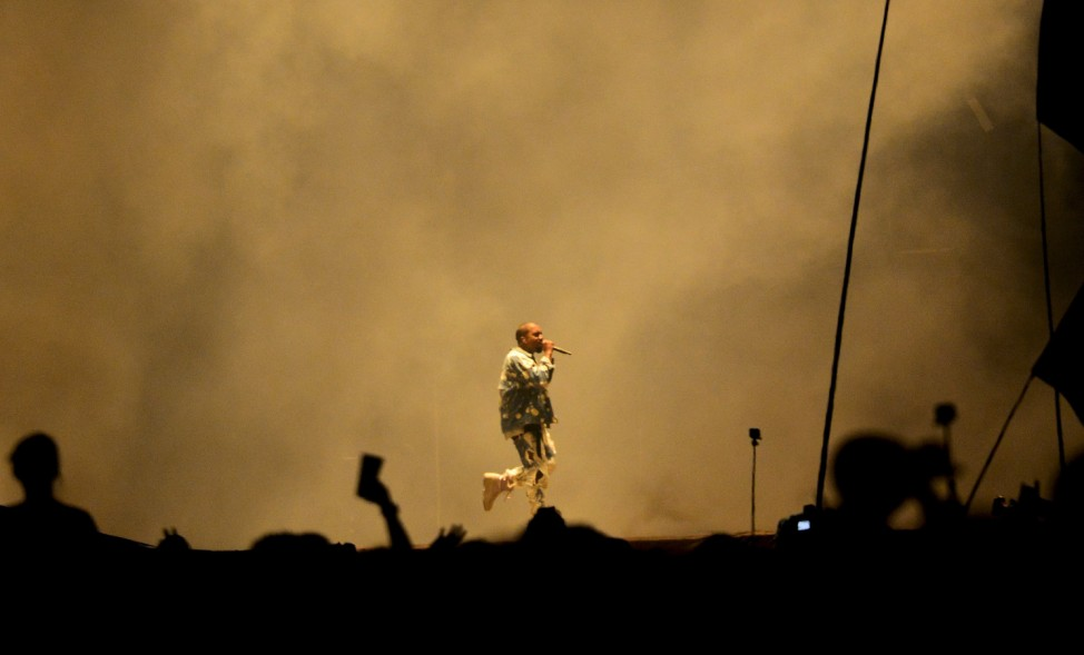 Kanye West performs on the Pyramid stage at Worthy Farm in Somerset during the Glastonbury Festival