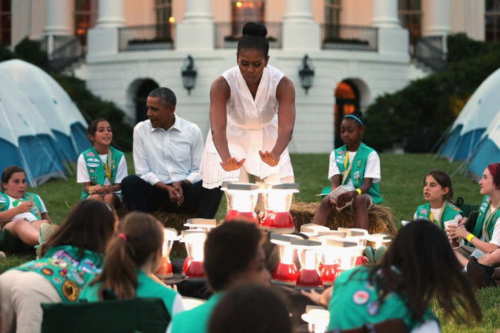 US President Obama and First Lady host Girls Scouts at White Hous