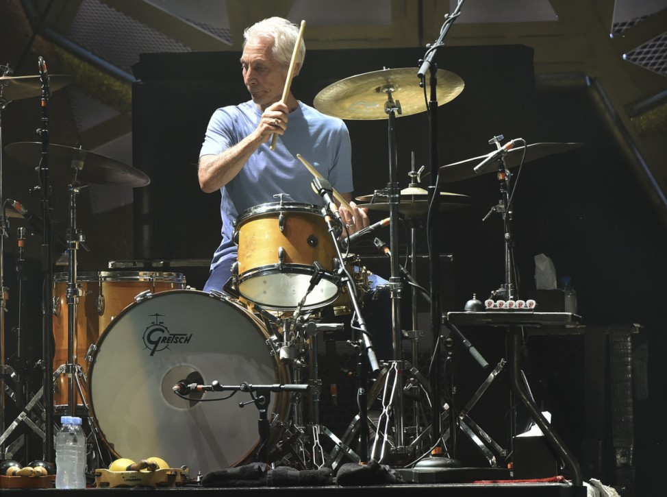 British veteran rockers the Rolling Stones drummer Charlie Watts performs during concert on their North American 'Zip Code' tour in Nashville
