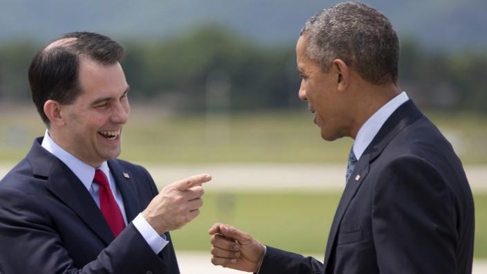 Barack Obama, Scott Walker US-Wahl Präsidentschaftskandidaten