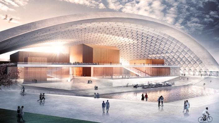 München: Vor Wind und Wetter geschützt sollen unter dem Dach der Halle ideale Räume für Musik entstehen. Simulation: CAMPO Projektentwicklungsges./Jürke Architekten/KMS Blackspace