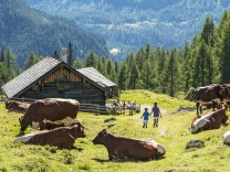 Kinder an einer Hütte in Altenmarkt am Zauchensee in Österreich
