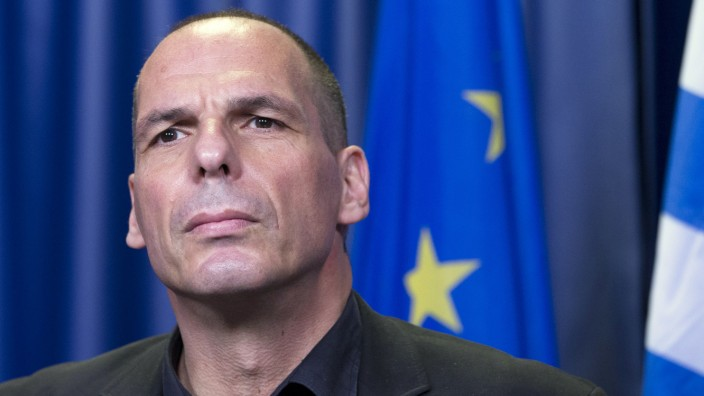 Greek Finance Minister Yanis Varoufakis holds a news conference during a Euro zone finance ministers emergency meeting on the situation in Greece