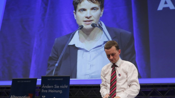 Petry appears on a large screen after being elected as leader of AfD while former leader Lucke watches at the AfD's party congress in Essen