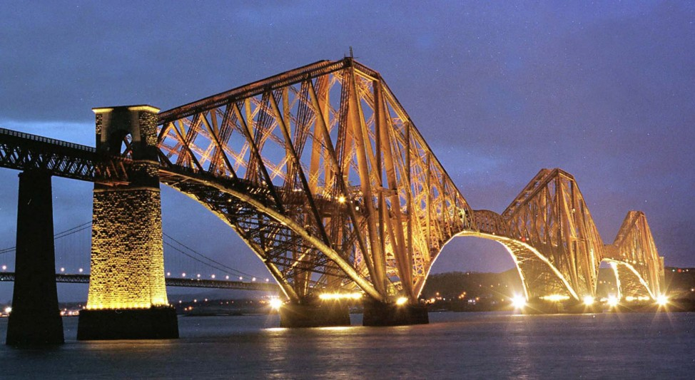 THE FORTH RAIL BRIDGE IS ILLUMINATED FOR THE FIRST TIME AS PART OF NEW YEAR CELEBRATIONS