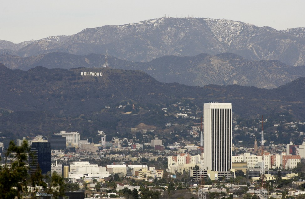 The Hollywood Sign is seen on the southern side of Mount Lee in Griffith Park as it looms over Hollywood in Los Angeles; hollywood