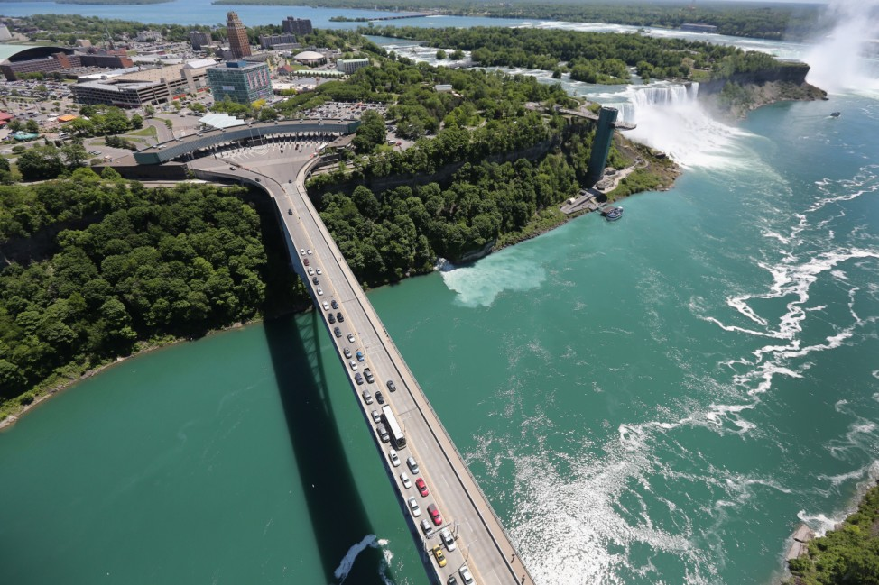 Aerials of U.S.-Canada Border Along The Niagara River; Niagara Falls