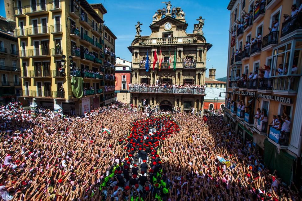 Eröffnungsfeier Chupinazo der Stierhatz in Pamplona