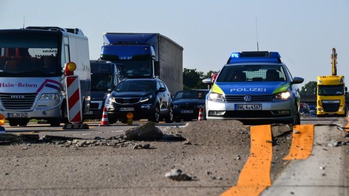 Blow-up auf der Autobahn A5