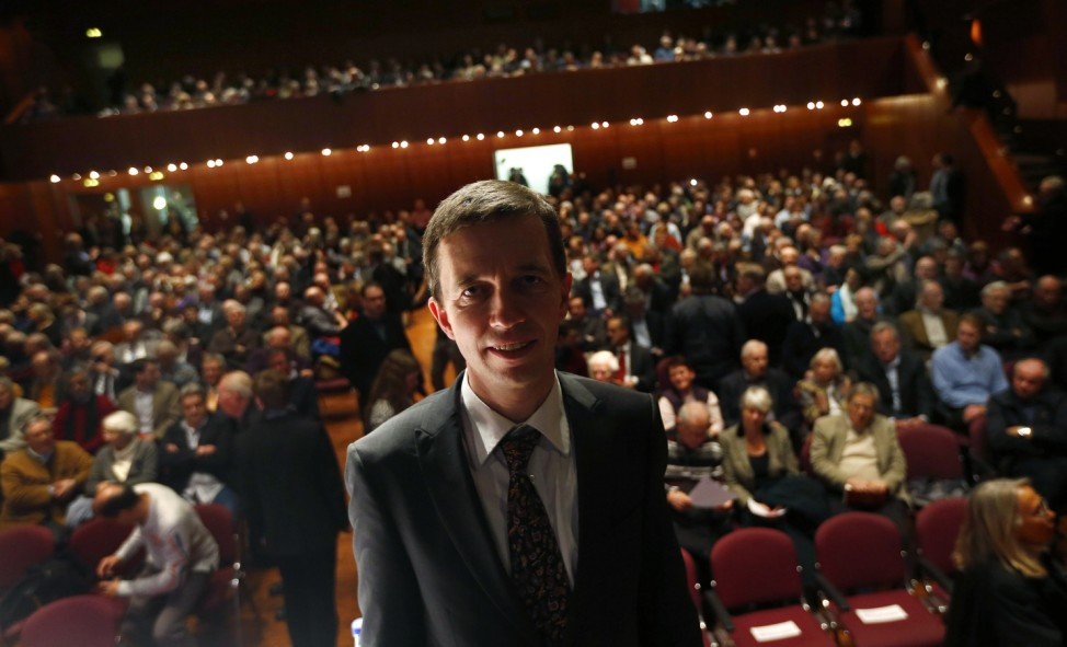 Bernd Lucke, co-founder of Germany's anti-euro party 'Alternative fuer Deutschland' (alternative for Germany) poses for a portrait during the first informal meeting of his party in Oberursel