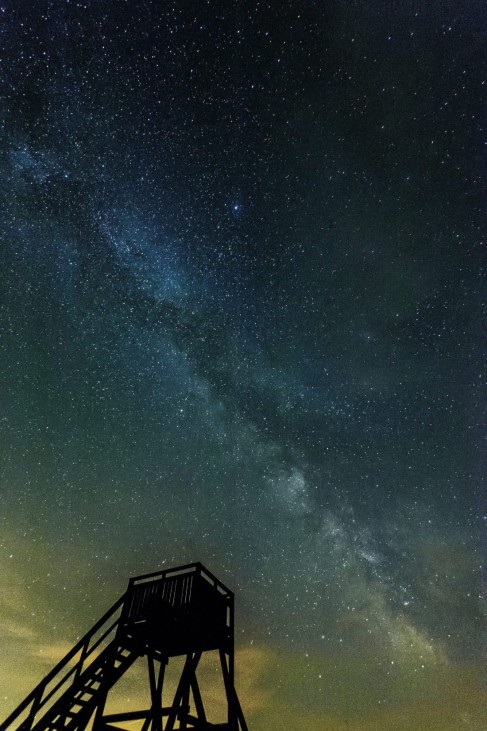Milky Way above the puszta or Hungarian steppe of Hortobagy