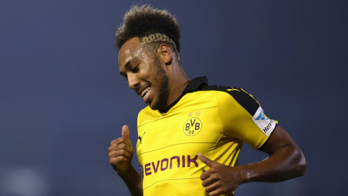 Borussia Dortmund's Aubameyang reacts after scoring during their friendly soccer match against Kawasaki Frontale as part of Borussia Dortmund's Asia Tour in Kawasaki