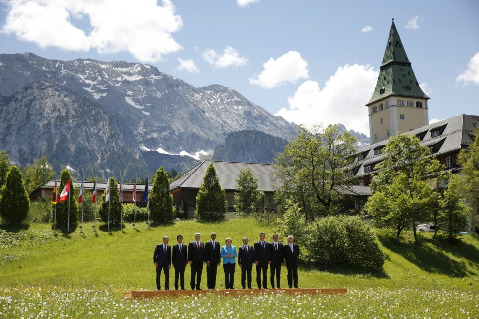 Leaders take part in a family photo at the  G7 Summit in Germany