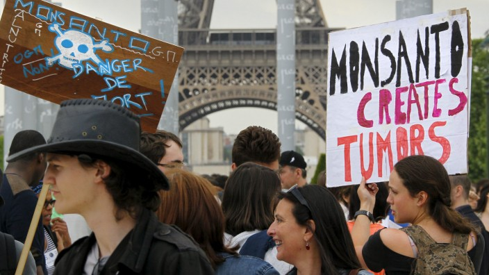 Demonstrators participate in a protest march against Monsanto Co, the world's largest seed company, in Paris