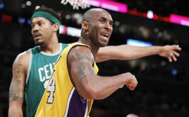 Lakers' Bryant celebrates a basket in front of Celtics' Wallace during Game 6 of the 2010 NBA Finals basketball series in Los Angeles, California