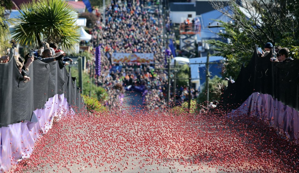 World's Steepest Street For The Annual Racing of the Candy