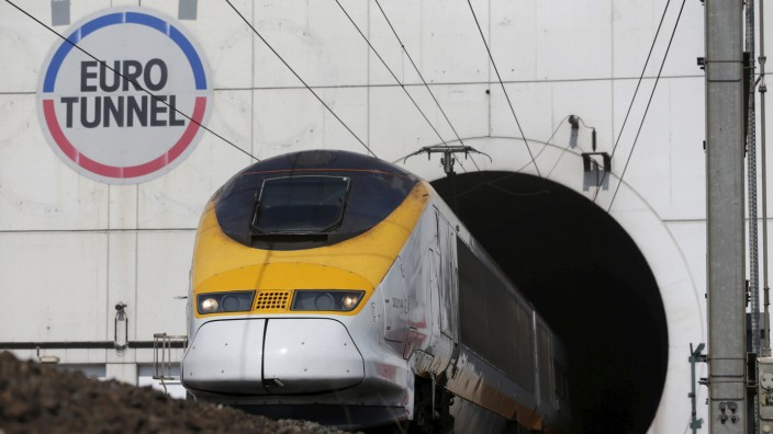 File photo of a high-speed Eurostar train exiting the Channel Tunnel in Coquelles