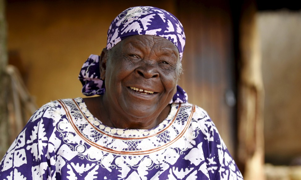 Sarah Hussein Onyango Obama, also known as Mama Sarah, step-grandmother of U.S. President Barack Obama, talks during an interview with Reuters at their ancestral home in Nyangoma village in Kogelo