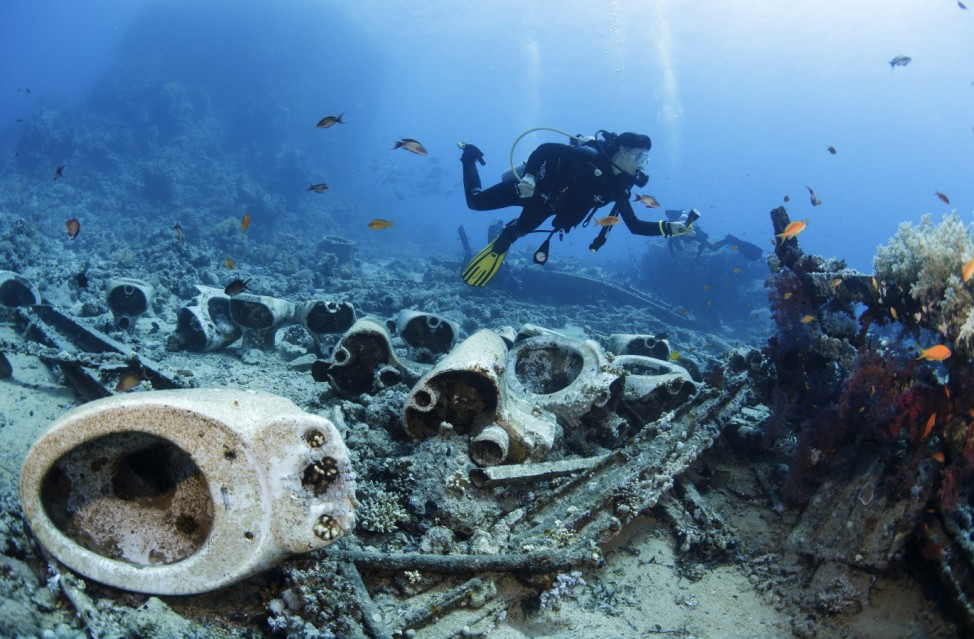 Divers enjoy at the Red sea in Egypt