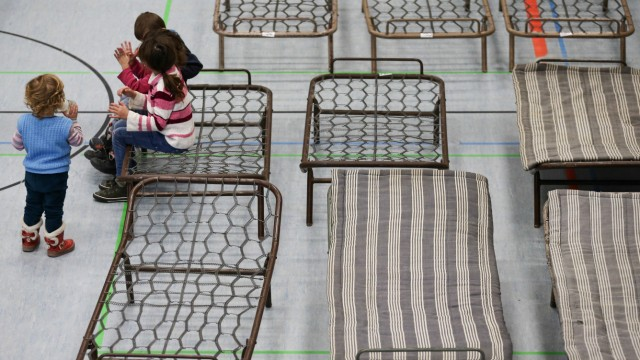 Notunterkunft für Asylbewerber in Turnhalle