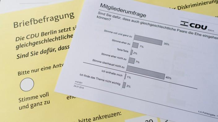 Mitgliederbefragung der CDU Berlin zur 'Ehe für alle'