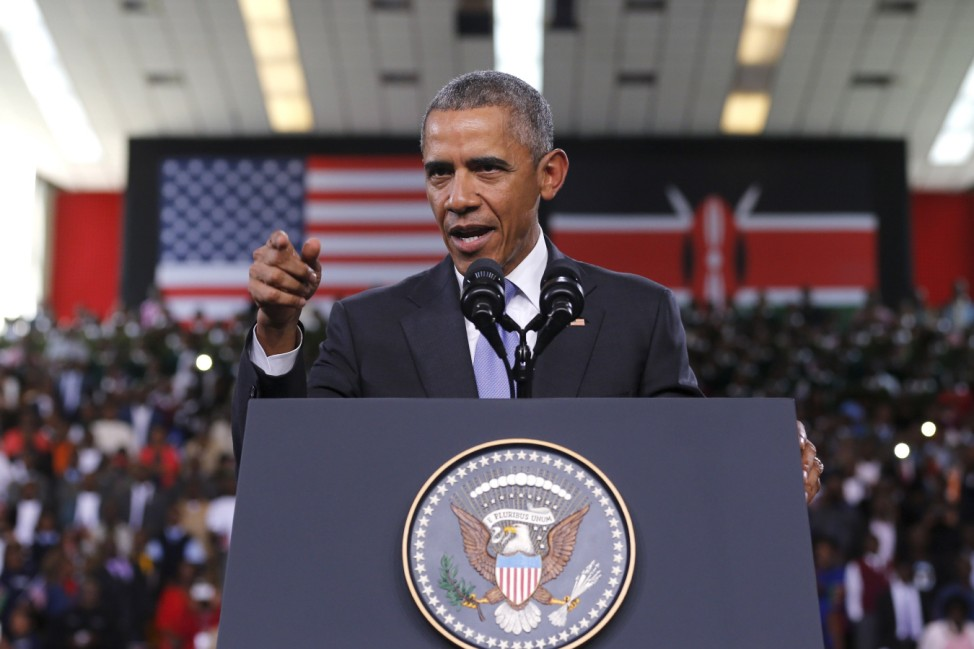 Obama delivers remarks at an indoor stadium in Nairobi