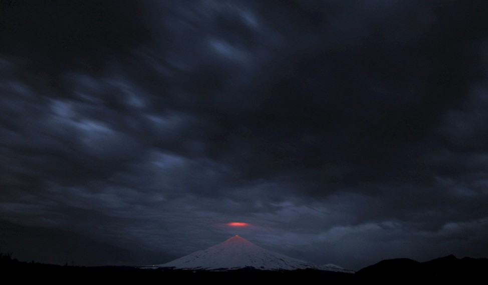 Villarrica volcano is seen under an overcast sky, from Pucon town, Chile