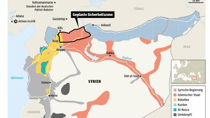 Grafik zur Situation im syrischen Bürgerkrieg