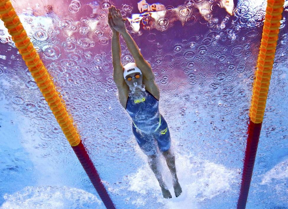 Hungary's Hoszu swims during the women's 200m individual medley heats at the Aquatics World Championships in Kazan