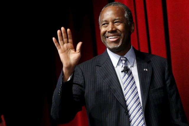 U.S. Republican presidential candidate Dr. Ben Carson arrives to speak at the Family Leadership Summit in Ames