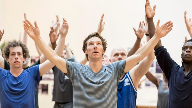 Handout photograph of actor Benedict Cumberbatch rehearsing for William Shakespeare's 'Hamlet' in London