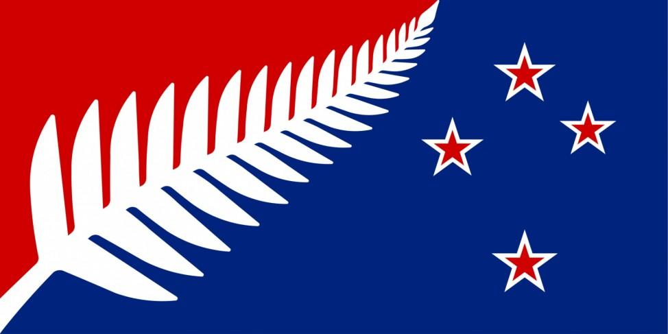Einer von 40 finalen Entwürfen der Shortlist für die neue Flagge Neuseelands