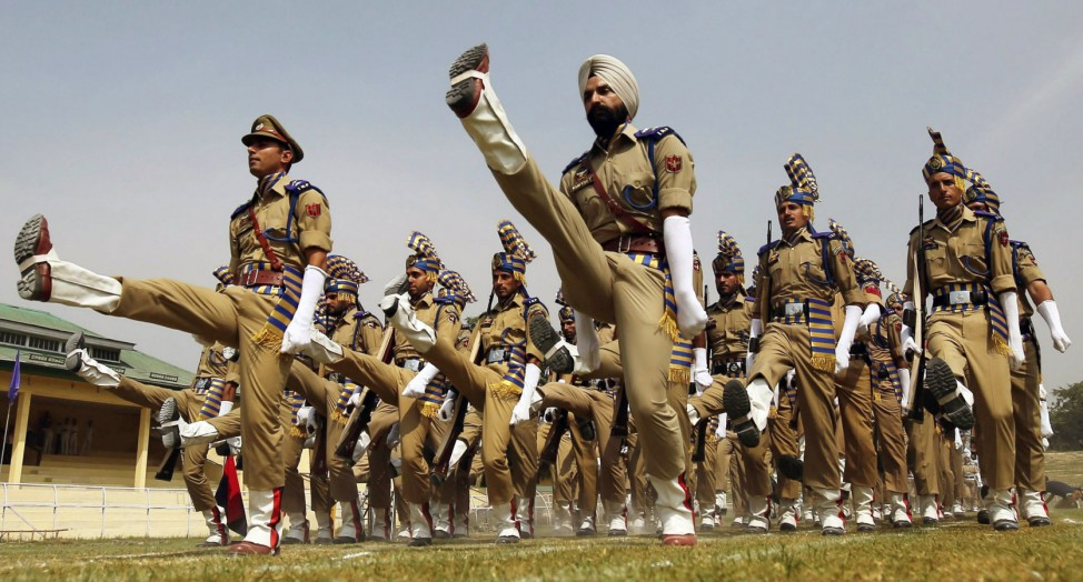Rehearsal of India's Independence Day parade in Srinagar