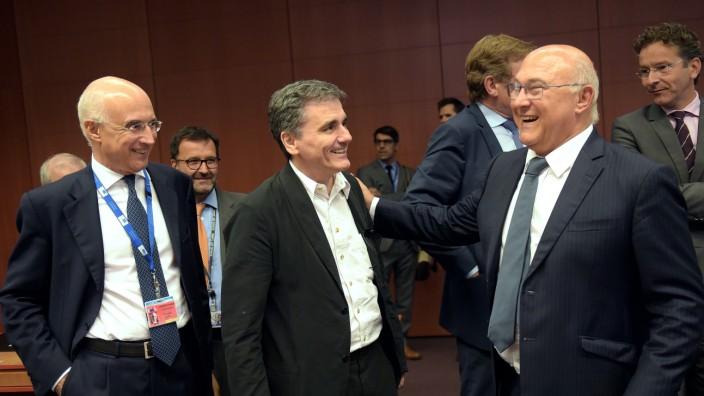 Vicenzo La Via, Euklid Tsakalotos, Michael Sapin in Brüssel