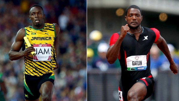 A combination picture shows Jamaica's runner Bolt and U.S. runner Gatlin