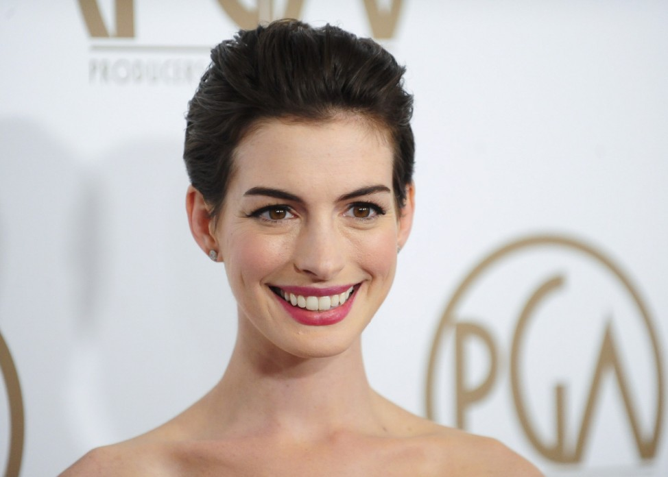 Actress Hathaway arrives at the Producers Guild of America Awards in Beverly Hills, California