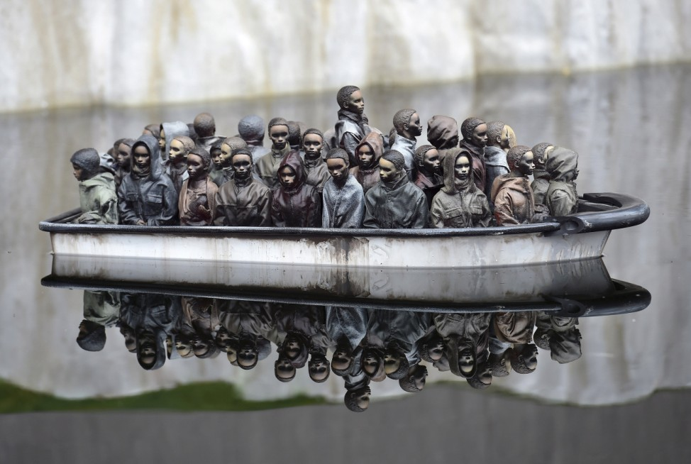 Part of an installation is pictured at 'Dismaland', a theme park-styled art installation by British artist Banksy, at Weston-Super-Mare in southwest England