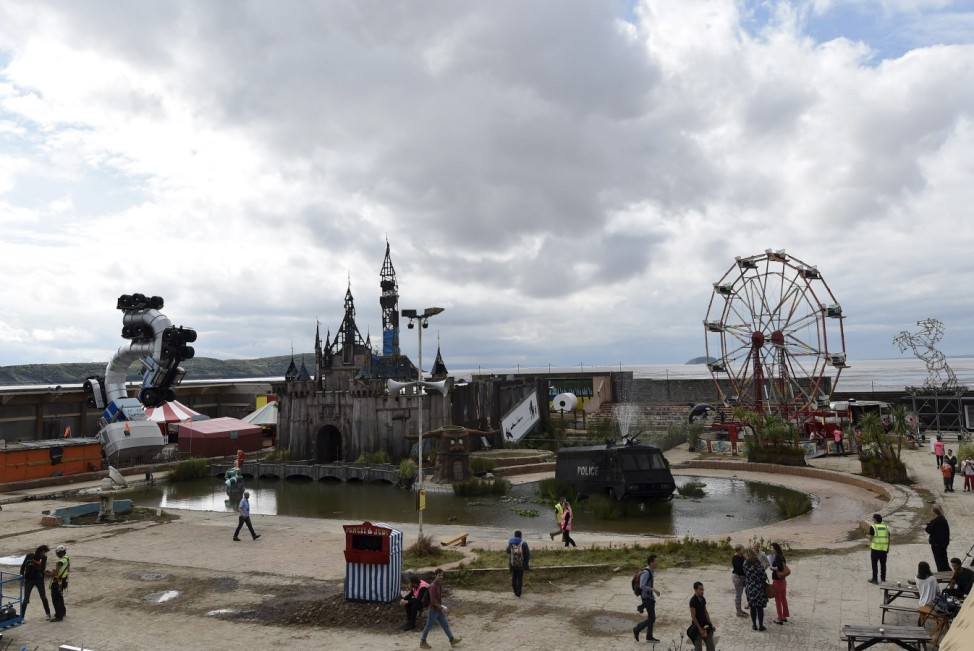 General view at 'Dismaland', a theme park-styled art installation by British artist Banksy, at Weston-Super-Mare in southwest England