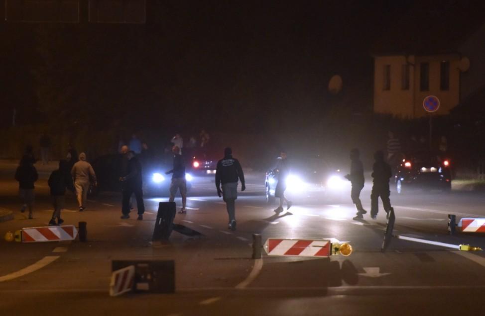 Demonstrators Protest Refugees' Arrival In Heidenau
