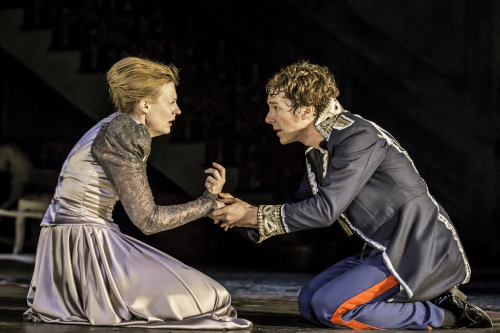 Actors Benedict Cumberbatch and Anastasia Hille perform in Director Lyndsey Turner's production of Hamlet at the Barbican, in London