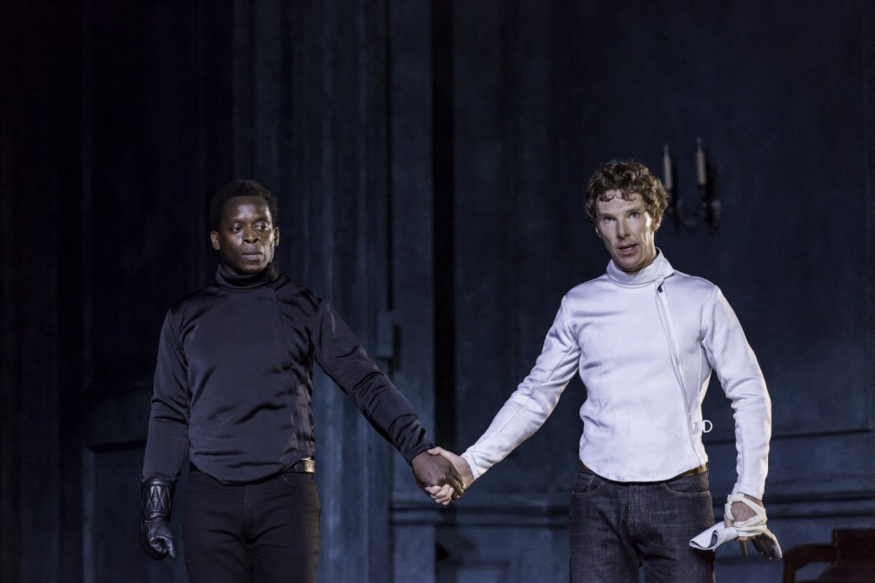 Actors Benedict Cumberbatch and obna Holdbrook-Smith perform in Director Lyndsey Turner's production of Hamlet at the Barbican, in London