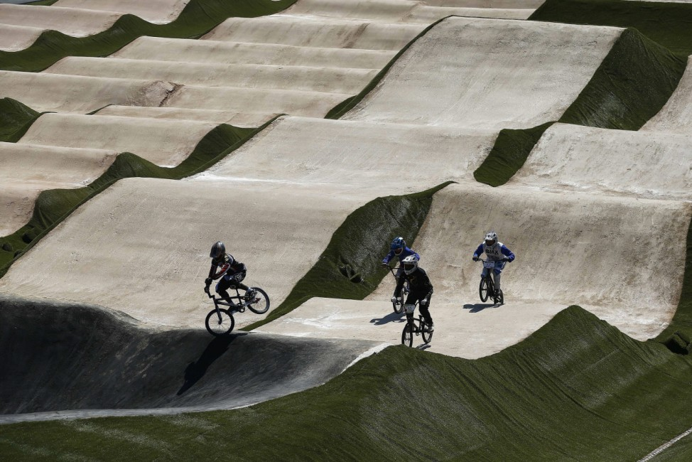 BMX race track is presented complete for the upcoming Rio 2016 Ol