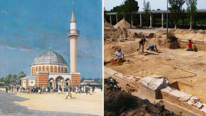 Halbmondlager in Brandenburg: Bild links: die erste Moschee Deutschlands in Wünsdorf. Bild rechts: aktuelle Ausgrabungen der Fundamente.