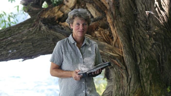 Menschen am Fluss: Mit dem Tablet an der Isar: Maria Reuther ist als Försterin für den Staatswald im Münchner Norden zuständig.