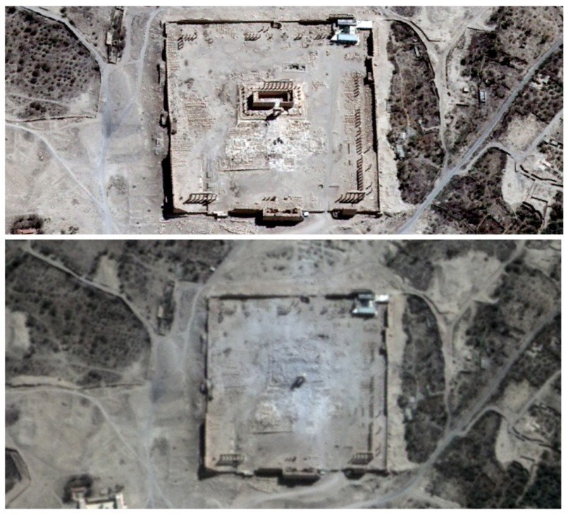 Der Baal-Tempel in Palmyra vor und nach der Zerstörung