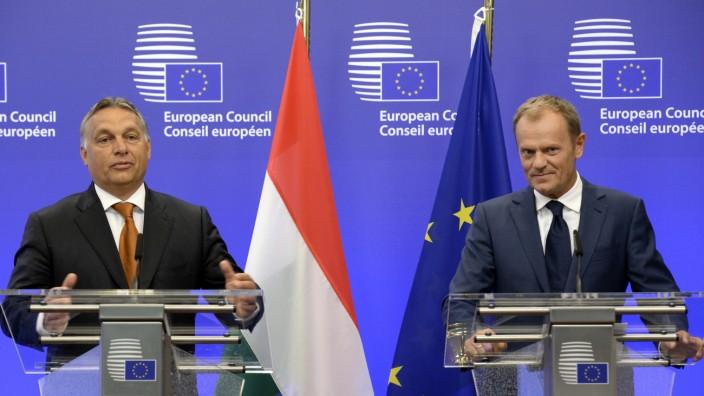 Viktor Orban und Donald Tusk zur Flüchtlingskrise in Brüssel