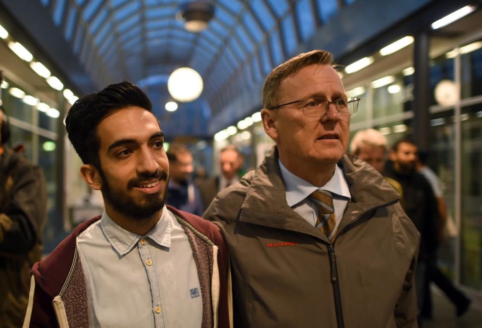 Vor Ankunft von Flüchtlingen am Bahnhof Saalfeld