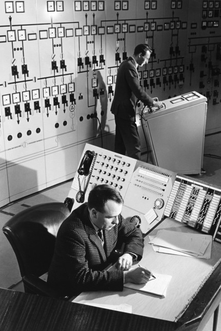 Operators in main control room at Hinkley Point nuclear power station.