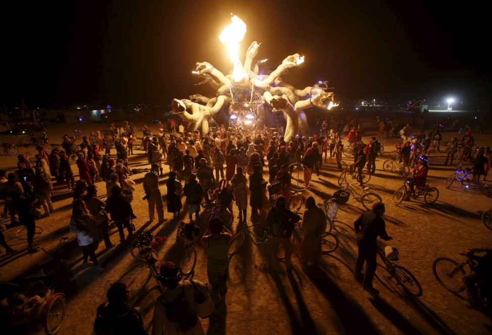Participants gather at Medusa Madness during the Burning Man 2015 'Carnival of Mirrors' arts and music festival in the Black Rock Desert of Nevada